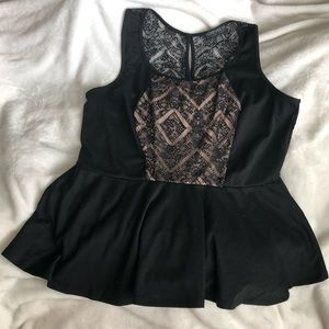 Black & Nude Peplum Top with Lace Back Forever 21+